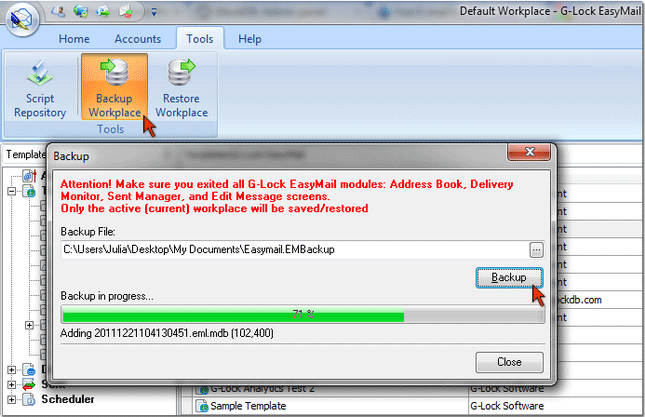 backup and restore workplace in G-Lock EasyMail