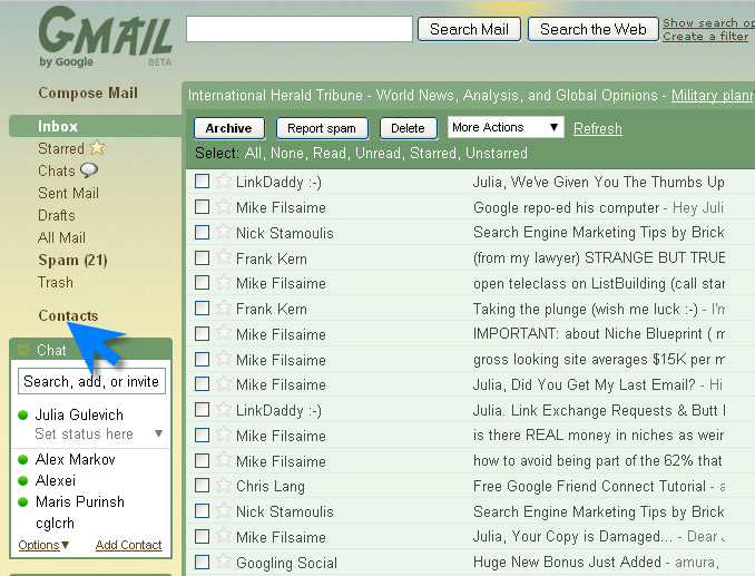 Send bulk emails to Gmail contacts