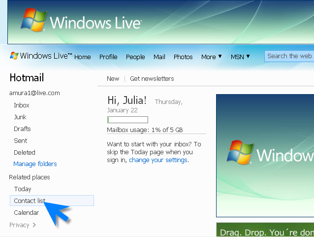 how to delete contacts hotmail
