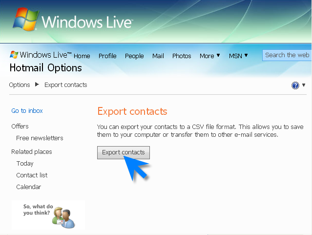 Save Hotmail contacts to file